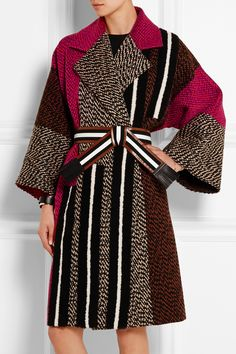 FENDI Patchwork wool-blend bouclé coat  £2,400.00 https://www.net-a-porter.com/products/569053