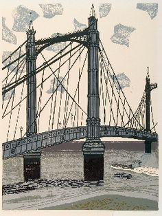Edward Bawden: 'Albert Bridge', 1966 (linocut). One in the series 'Nine London Monuments', which was commissioned by Editions Alecto.