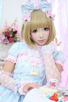 carousel necklace on cute girl wearing kawaii pastels and deco