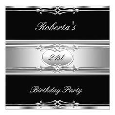 Elegant 21st Birthday Party Black Silver 21 Personalized Invite