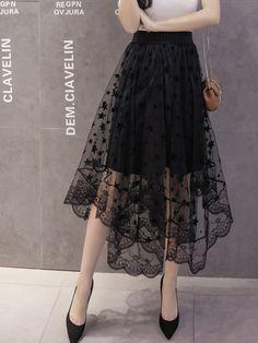 b8c4b4555a 2017 New spring fashion jupe tulle women midi skirt high waist asymmetric  wild yarn skirt summer long skirt free delivery