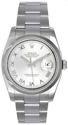 1bd25d1a3f0 Rolex Mens Datejust Steel Watch Slate Roman Dial