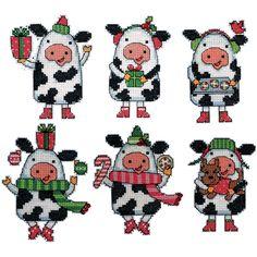 Plastic Canvas Crafts Secrets | Cows Ornaments Plastic Canvas Kit-Set Of 6 | Overstock.com