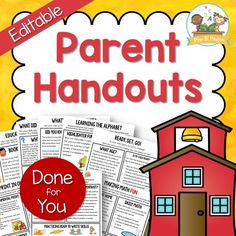 10 done-for-you, editable parent handouts! Learn the alphabet at home, fine motor skills, math, healthy breakfast, potty training, reading and more!