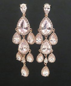 Rose Gold Wedding Earrings, Rose Gold chandelier earrings, Bridal ...