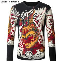 >> Click to Buy << Chinese style monkey king pattern personalized printing men sweater 2016 Autumn&Winter fashion slim quality sweater men M-4XL #Affiliate