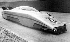 The ARVW (Aerodynamic Research Volkswagen) concept car built by VW in the late 1970's. Aerodynamic research considering vehicle body shape & fuel consumption at high speed. 6 cylinder turbo diesel (standard gearbox) w/specially designed aluminium & composite material body. Fastest diesel car in the world, w/top speed at 362.07 km/h in 1980.