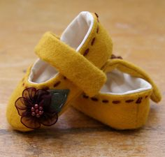 Holy cutest little things, EVER!!  Yellow Wool and Purple Flowers Baby Girl Shoes by TillyWhistle on Etsy.com