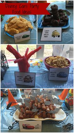 Disney Cars Birthday Party Food Ideas + FREE Printables Tyler's birthday party Pixar Cars Birthday, Race Car Birthday, Race Car Party, Disney Birthday, 3rd Birthday, Birthday Ideas, Car Themed Parties, Cars Birthday Parties, Car Themed Birthday Party
