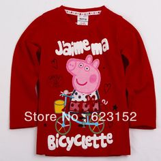 Aliexpress.com : Buy FREESHIPPING F3899# 18m 6y Peppa Pig red cotton tunic top kids autumn t shirts for girls cartoon clothing children autumn tops from Reliable Baby girl tunic top