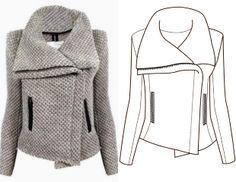 Выкройка стильного мото-пальто