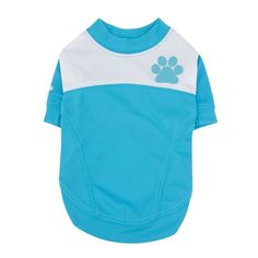 This Blue dog shirt by Puppia is decorated with a sweet contrasting paw print on the back as well as the Puppia logo on the front and sleeve. Designed using 100% Polyester and features a double stitched ribbed hem trim finish for comfort. Available in two color options: Pink or Sky Blue