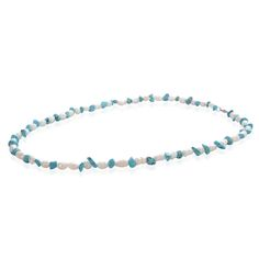 Blue Howlite, Freshwater Pearl Set of 2 Bracelets (7.5 in) and Necklaces (22 in) in Stainless Steel  TGW 0.004 cts.
