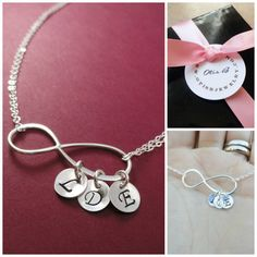 Personalized Mothers necklace, Silver Infinity Necklace, Silver initial necklace, monogram necklace, gift for mom, personalized necklace on Etsy, $42.00