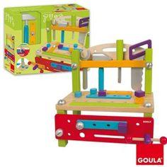 Etabli activités en bois  - marque : GOULA Magnifique établi en bois peint composé de tous les outils nécessaires pour bricoler dès l'âge de 3 ans.... prix : 39,90 €  chez Jeprogresse.com #GOULA #Jeprogresse.com