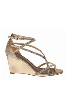 0325ef39401ba Belle Badgley Mischka - Nicely Metallic Lizard Fabric Wedge Sandals