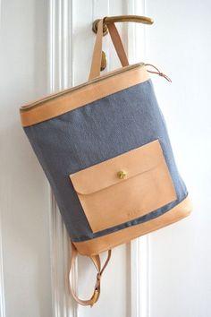 *Rucksack aus Leder und Baumwolle* von MICOU auf DaWanda.com