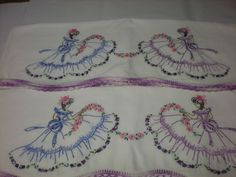 Charming Pair of Vintage Southern Belle Embroidered Pillowcases Yellow Gown Modern Embroidery, Vintage Embroidery, Ribbon Embroidery, Cross Stitch Embroidery, Embroidery Patterns, Embroidered Pillowcases, Crochet Quilt, Embroidery Transfers, Doll Quilt