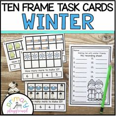 Winter Ten Frame Task Cards Making Ten with Winter Friends - Primary Playground