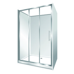 Features Low profile tray with 40mm upstand Tray is Rear Centre Waste. 1950mm high glass 6mm safety glass. Stacker Door  Reversible – can open left to right or right to left Stacker Door is available in a Silva finish only Internal slider (no door swing out means no water on the floor and water drains back into the shower)