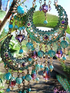 Large Exotic Moroccan Moon Earrings, Turquoise Bohemian Gypsy Chandelier Earrings, Amethyst Purple Crystal and Gemstone Hoop Earrings