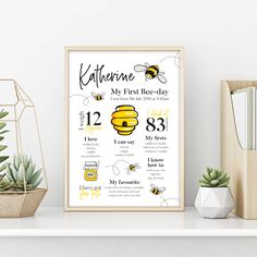 Honey Bee Milestone Birthday Board Sign (Digital File Only) 1st Birthday Party For Girls, Happy Birthday Signs, Girl Birthday Themes, Birthday Board, Baby Birthday, Birthday Ideas, Milestone Birthdays, First Birthdays, Bumble Bee Birthday
