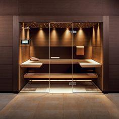Designer sauna A sauna in your own four walls is pure relaxation. The sauna … Spa Design, Design Sauna, Home Gym Design, Design Case, House Design, Sauna Steam Room, Sauna Room, Modern Saunas, Home Spa Room