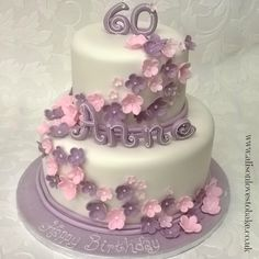 Lilac and pink 2 tier birthday cake