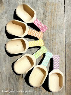 Small Chevron Wooden Candy Scoops - GIRLS Rainbow Collection OR Pick ONE Color (set of 6)