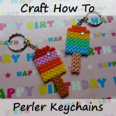 How to Make a Perler Bead Keychain Step by Step Instructions Making Keyring Hama Fused Beads Craft Tutorial by CraftyMarie Perler Beads Instructions, Diy Perler Beads, Perler Bead Art, Pearler Beads, Fuse Beads, Diy Perler Bead Keychain, Fuse Bead Patterns, Bead Embroidery Patterns, Beaded Bracelet Patterns