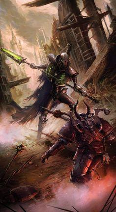 40k - Necron vs. Chaos by ~Columbussage on deviantART
