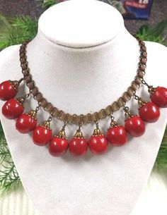 Early Miriam Haskell Bookchain Necklace Red Fruits Nuts Unsigned