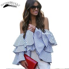 >> Click to Buy << Fashion Striped Slash Neck Women Blouse Shirts Summer Sweet Tops Ruffle Elegant Off Shoulder Shirts Blouse For Women Plus Size #Affiliate