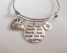 Daughter in law gifts, Stepdaughter bangle, Marriage made you family, love made you my daughter, BRIDE gift bangle, Daughter in law bangle
