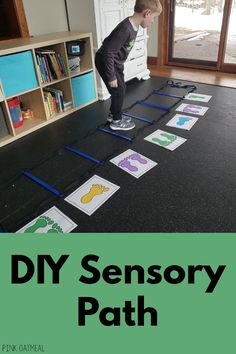 Don't worry about spending big money when you can create your own DIY sensory path with painters paint and printables. Occupational Therapy Activities, Pediatric Physical Therapy, Fine Motor Activities For Kids, Sensory Activities, Autism Activities, Infant Activities, Sensory Tubs, Sensory Rooms, Behavioral Therapy