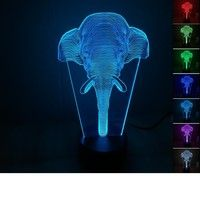 Wish | Adjustable 7 Color New Colorful Elephant Modeling 3D Lamp LED Nightlight Acrylic Stereoscopic Touch Switch Visual Lamp
