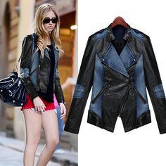 Cheap 2014 hitz pu cremallera cuero cosido tendencias de mezclilla máquina  vagón casacos femininos chaqueta pantalones 7c772e077033