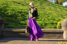 Colorful outfit for fall.Long skirt!