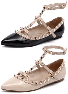 "Diavolina ""Delight"" Studded T-Strap Flats in black and nude patent, $189.95 AUD (Valentino Rockstud dupes)"
