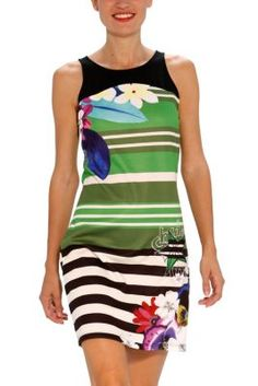 Desigual women's Teruelin dress from the Love line. A short, striped dress with a colourful floral print.