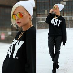 Easy Money Clothing Sweatshirt, Forever 21 Pants, Easy Money Clothing Hat, Zero Uv Sunglasses, By Samii Ryan Accessories