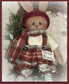 PriMitive Folkart Bunny Rabbit ~ Winter Bunny ~ Snow Bunny #NaivePrimitive