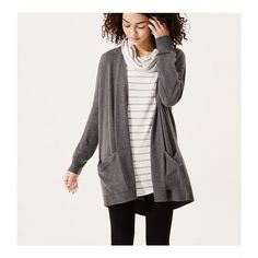 LOFT Lou & Grey Easygoing Cardigan ($60) ❤ liked on Polyvore featuring tops, cardigans, grey speckle, gray cardigan, grey top, long sleeve open front cardigan, grey long sleeve top and long sleeve tops