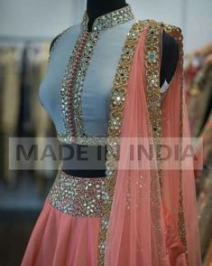 Lehanga skirt and top is part of Lehnga designs - Lehanga full skirt and short top with shawl Indian Fashion Dresses, Indian Gowns, Indian Designer Outfits, Indian Attire, Indian Wear, Designer Dresses, Half Saree Lehenga, Lehnga Dress, Anarkali