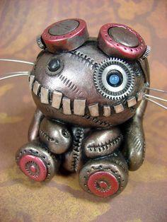 so cute! a steampunk baby robot ! Arte Steampunk, Style Steampunk, Steampunk Design, Steampunk Fashion, Steampunk Drawing, Steampunk Crafts, Cyberpunk, Steampunk Animals, Chesire Cat