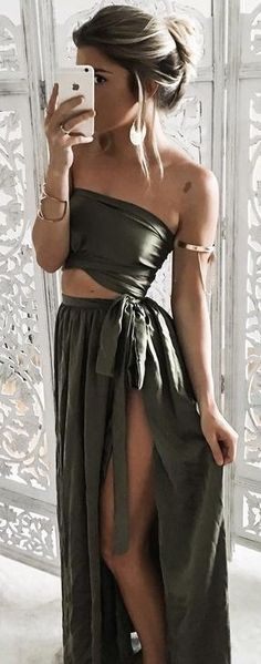 Olive Silk Two Piece Maxi Dress                                                                             Source