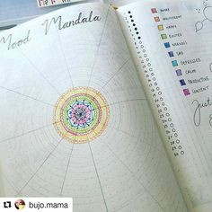 Mood Mandala. Fascinating, To see finished mandala, check November 30 (2016) at bujo.mama on IG (or @bulletjournalcollection)