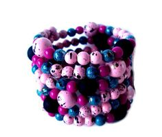 Pink black and blue beaded wrap bracelet chunky by NezDesigns, $20.00