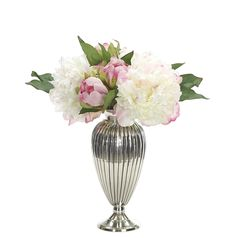 Peony (KF010): FINAL SALE ITEM | Peony, Cream Pink, Ribbed Vase Silver