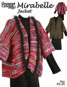 Maggie's Crochet · Mirabelle Jacket Pattern::: Love the yarn and the style. Comes in plus sizes also. Lorr